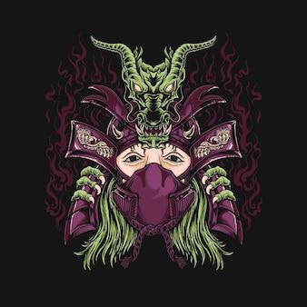 Maschera donna ronin samurai con testa di drago verde