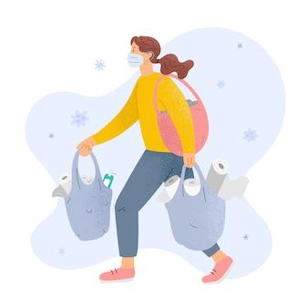 Donna nella maschera con le borse carta igienica piena e disinfettanti, concetto di acquisto di panico