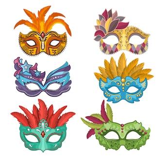 Maschere da donna con piume per mascherata. collezione di maschere mascherate, carnevale veneziano. illustrazione