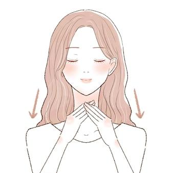 Donna che massaggia il collo. su uno sfondo bianco.