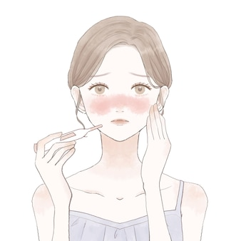 Donna che misura il calore con il termometro. su uno sfondo bianco.