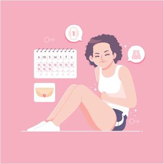 Fondo dell'illustrazione del concetto di mestruazione della donna
