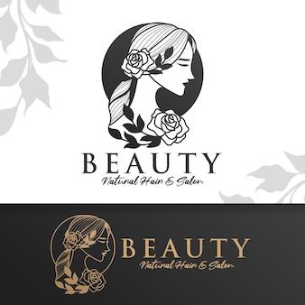 Modello di logo di bellezza naturale della donna