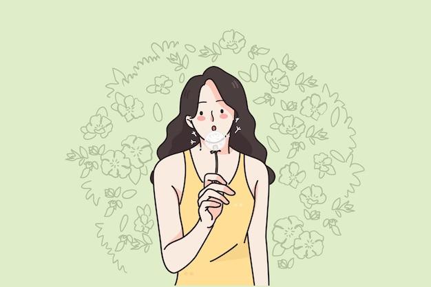 Donna e natura sul concetto di estate