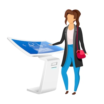 Donna vicino al personaggio senza volto di colore piatto pannello segnaletica elettronica. scheda informativa innovativa isolato fumetto illustrazione su sfondo bianco. chiosco produzione prodotto con touchscreen