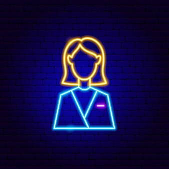 Insegna al neon della donna. illustrazione vettoriale di promozione aziendale.
