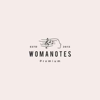 La donna osserva l'illustrazione dell'icona di vettore di logo di musica