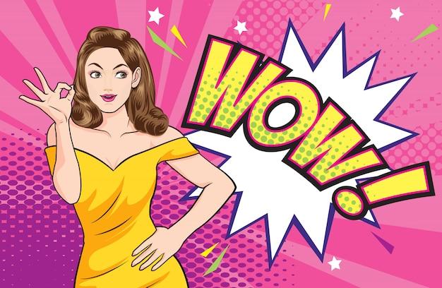 Azione di gesto ok donna con wow fumetto