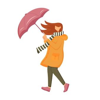Donna in carattere senza volto di colore piatto impermeabile arancione. tempo ventoso. femmina con l'ombrello. camminando signora caucasica in sciarpa isolato illustrazione cartoon su sfondo bianco
