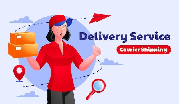 Corriere di consegna del pacchetto della donna che tiene cassetta dei pacchi del pacchetto