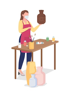 Donna che dipinge vaso di argilla piatto. hobby creativo durante la pandemia.