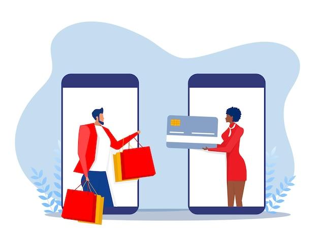 Donna paga tramite app app mobile banking e pagamento con carta di credito tramite portafoglio elettronico in modalità wireless