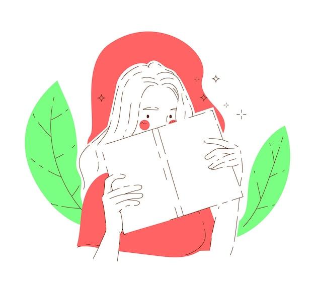 La donna sbircia da dietro il libro aperto davanti a foglie verdi che mostrano metà del suo viso. illustrazioni di disegno vettoriale stile disegnato a mano.