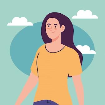 Donna che svolge attività all'aperto, donna con le nuvole