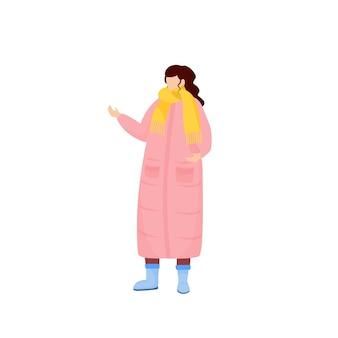 Donna in carattere senza volto di colore piatto cappotto invernale rosa donna con sciarpa vestita per la neve persona in abito stagionale per tempo libero illustrazione del fumetto isolato vestito freddo