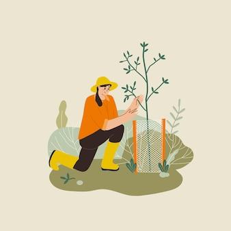 Donna che pianta giardini fiori agricoltura giardiniere hobby