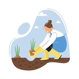 Una donna che pianta una cipolla. un contadino coltiva cipolle. cipolle in crescita in giardino. illustrazione vettoriale.