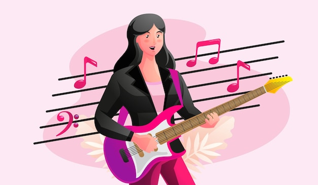 Donna che suona la chitarra con note musicali