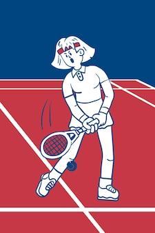 Donna che gioca a tennis vettore Vettore Premium