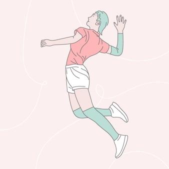 Donna che gioca l'illustrazione di pallavolo