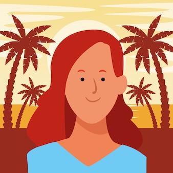 Avatar di donna ritratto cartone animato Vettore Premium