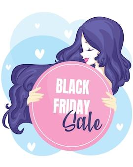 Manifesto della donna con la vendita del black friday. banner di vendita venerdì nero.