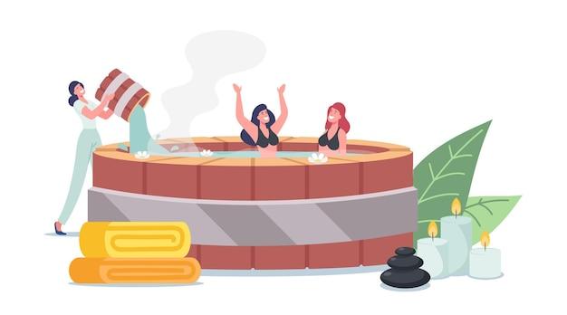 Donna che versa acqua nel bagno onsen con personaggi felici che si rilassano. resort termale giapponese naturale, sorgenti termali. giovani amici della compagnia si godono la terapia della piscina con acqua termale. cartoon persone illustrazione vettoriale