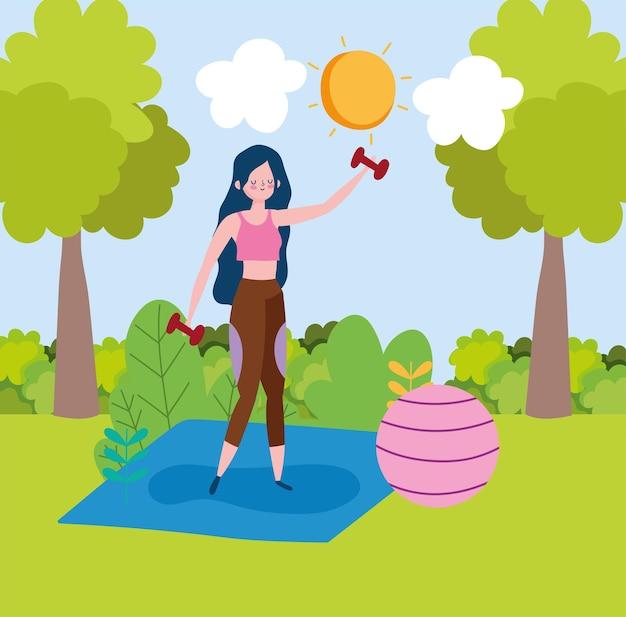 Donna che pratica esercizio