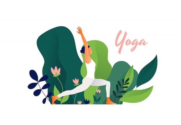 Esercizio di yoga all'aperto, posa di yoga della donna. giornata internazionale dello yoga.