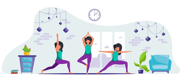 La donna a praticare yoga a casa. rimanere a casa concetto. benefici per la salute della meditazione. in uno stile piatto.