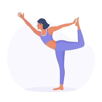 Posa di yoga di pratica della donna: signore della danza. ragazza sportiva esile che fa yoga, esercizi di fitness. esercizio della persona in abbigliamento sportivo e pantaloni da yoga. uno stile di vita sano