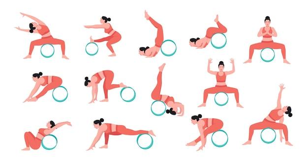 La donna che pratica le pose di yoga con la ruota di yoga