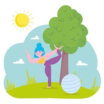La donna a praticare yoga
