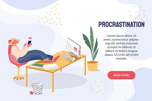 Donna che procrastina sul posto di lavoro