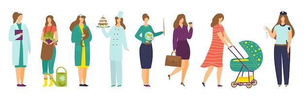 Professione della donna isolata sul carattere dell'operaia dell'illustrazione di vettore dell'insieme bianco in collez...