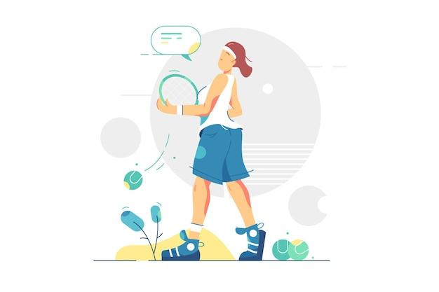 Giocatore professionista del gioco di tennis della donna. sportiva che tiene stile piatto racchetta da tennis. sport internazionale, atleta e concetto di stile di vita attivo.