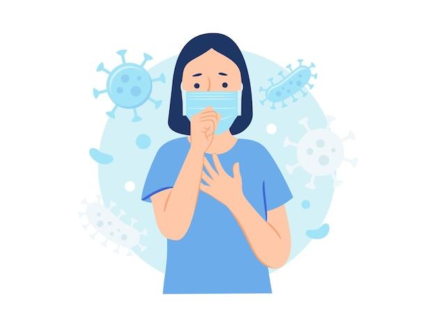 Donna in maschera protettiva che tossisce a causa di batteri e virus nell'illustrazione del concetto di aria