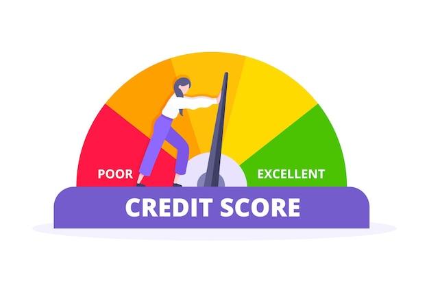 La donna spinge l'indicatore del tachimetro dell'indicatore della freccia del punteggio di credito con i livelli di colore
