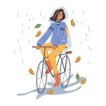 Donna in impermeabile che va in bicicletta sotto la pioggia vettore