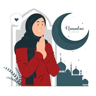 Donna sull'illustrazione di concetto di ramadan kareem