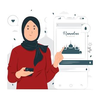 Donna sull'illustrazione di concetto di ramadan kareem Vettore Premium