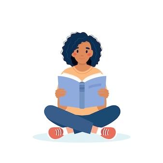 Donna che legge il libro mentre si è seduti concetto di giorno di apprendimento e alfabetizzazione