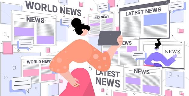 Donna che legge le notizie quotidiane sull'illustrazione del tablet pc