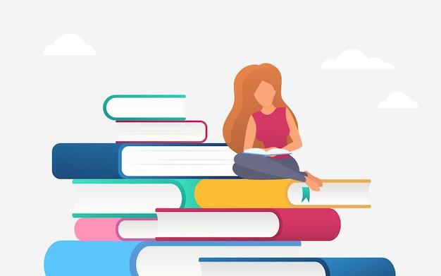 Donna lettura concetto di educazione studente lettore di libri che studia seduto su libri di mucchio.