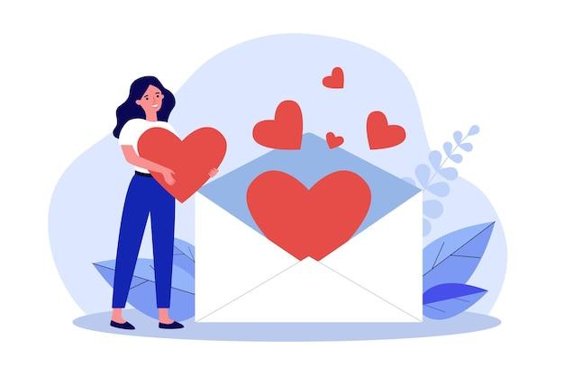 Donna che riceve una lettera d'amore. piccola ragazza che tiene un grande cuore, in piedi vicino a una busta aperta con un'illustrazione piana di vettore dei cuori. concetto di san valentino per banner, design di siti web o pagine web di destinazione
