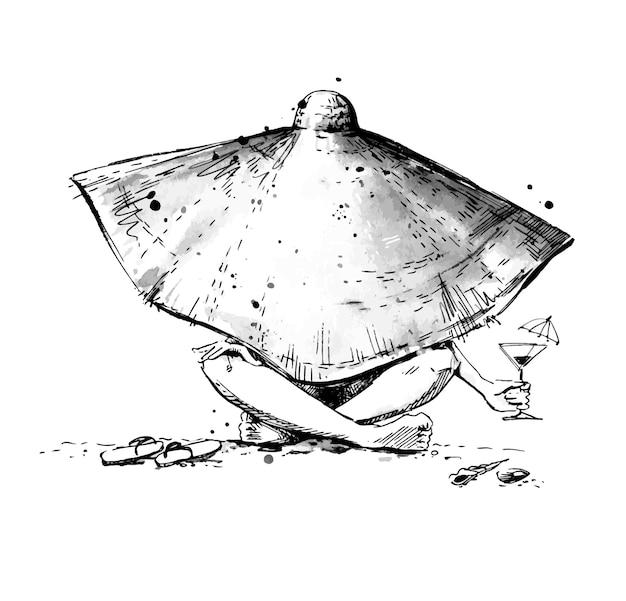 Donna che si rilassa su una spiaggia con indosso un enorme cappello da sole schizzo a inchiostro