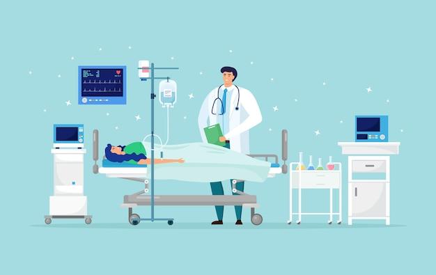 Donna che riposa sul letto di ospedale con terapia intensiva contagocce