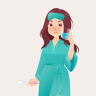 Donna che sta sciacquando e facendo gargarismi mentre usa il collutorio