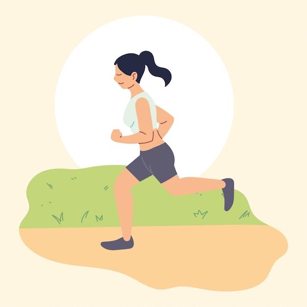 Donna che corre o fa jogging, attività all'aperto