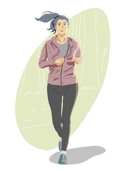 Donna che corre o fa jogging nel parco